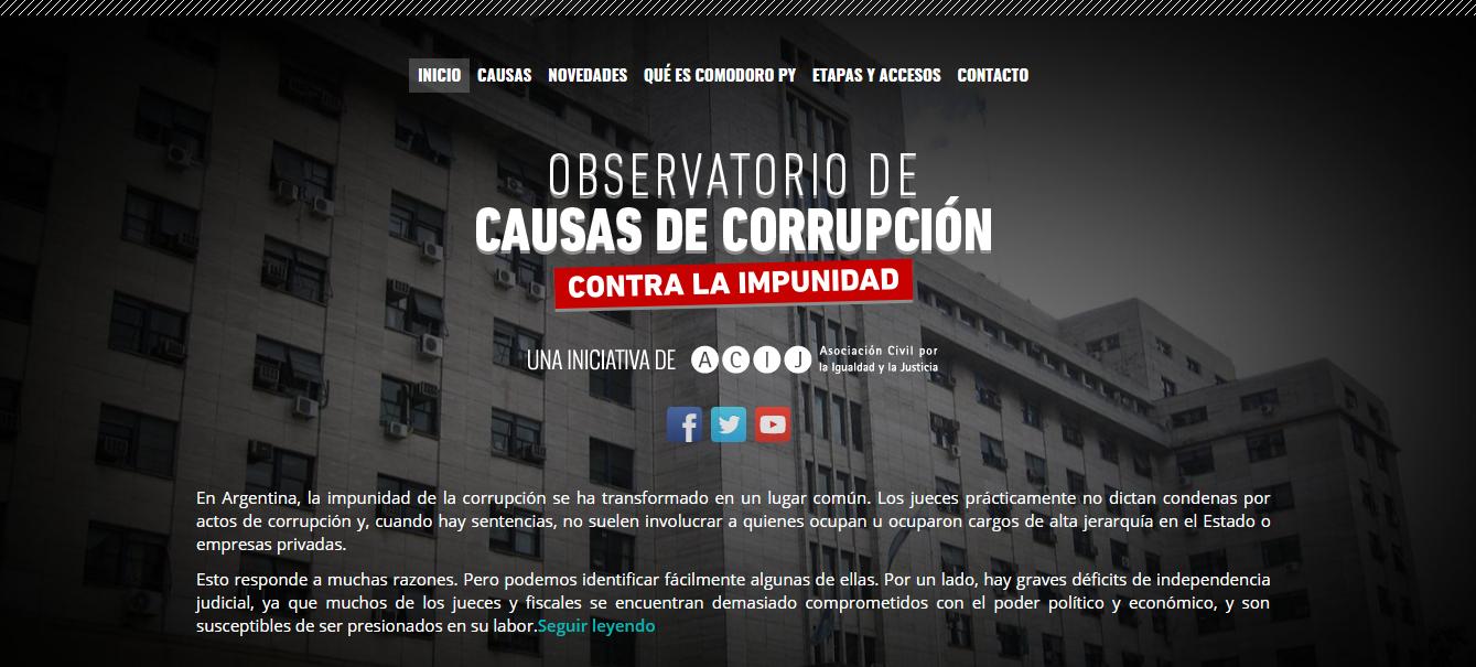 ACIJ lanza el Observatorio de causas de corrupción, una plataforma online que permite conocer las principales investigaciones